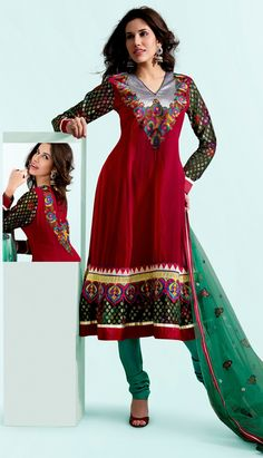 Red Georgette Churidar Party Wear Suit