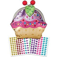 """Cupcake Clutch-What a treat! This cute-as-a-cupcake clutch is roomy enough to hold a little girl's treasures. She will have fun adding the """"sprinkles"""" by following the numbers to decorate the clutch with sparkling jewels. And to top it off, the two cute cherries snap the clutch open and shut."""