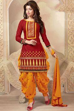 Red Color Designer Patiala Salwar Kameez