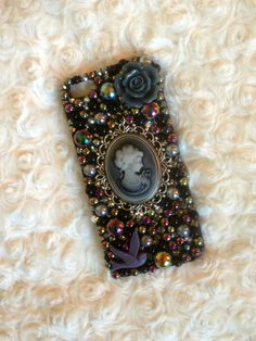 Black And Grey Cameo Studded Decoden Case. Gothic 2ff93b20a