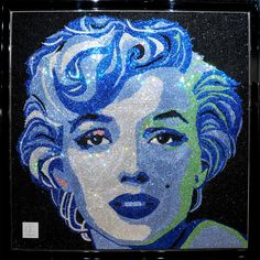 Marilyn Monroe mosaic made with 65000 Swarovski Crystals. By Claire A Milner | Contemporary Multi-Disciplinary Artist