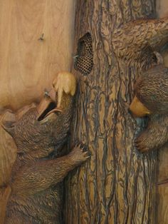 Hand Crafted High Relief Wall Sculpture - Three Bears in the Honey Tree by Ramsey Studios | CustomMade.com