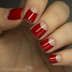 red/gold/nude nails