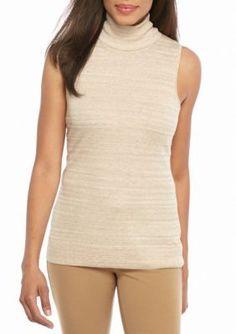 Calvin Klein Heather Latte Turtleneck Sleeveless Sweater