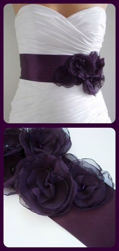 Totally something I would do considering my love for the colour purple: Wedding dress-purple sash with a bow tied around the back. by jana Plum Wedding, Trendy Wedding, Fall Wedding, Wedding Colors, Dream Wedding, Unique Weddings, Wedding Flowers, Black Wedding Dresses, Wedding Dress With Purple