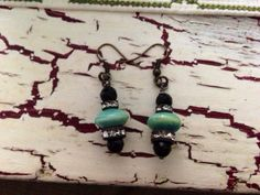 Vintage feel - Antique style turquoise black & vintage rhinestone dangle Earrings on Etsy, $18.00