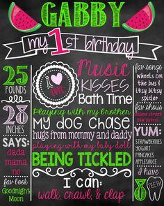 Watermelon First Birthday Chalkboard | Summer 1st Birthday Chalkboard Sign | First Birthday Chalkboard Girl | Birthday Chalkboard Poster by DylanAndMadison on Etsy (null)