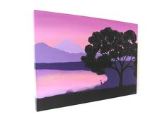 Japanese Blossom art - original acrylic landscape painting of lake and mountain dawn scene with cherry blossom tree silhouette (UK Only)