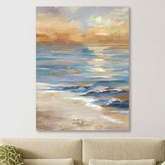 Use our Sea at Sunset Crop Giclee Canvas Art Print to tie a room together. Using this print's coastal hues as accents, you can create a low-key, relaxing space. Abstract Ocean Painting, Blue Painting, Seascape Paintings, Beach Wall Art, Beach Artwork, Coastal Art, Canvas Art Prints, Art Projects, Low Key