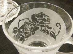 手つきグラス - 手つきグラス220 薔薇 - ガラス~サンドブラスト~貴方だけの一品を