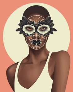 """""""This mask is a combination of Givenchy tulle and beading from the Spring 2016 show, John Galliano feathers from the Fall 2002 show, and a Maison Margiela couture 2016 mouth."""" Mask/makeup direction by Pat McGrath; illustration by Jack Hughes"""