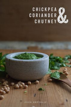 Cilantro and Chickpea Chutney. This is super easy and delicious with raw or cooked vegetables.