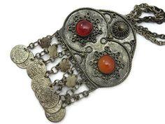 Boho Pendant Necklace  Carnelian 1960s 1970s by VintageInBloom