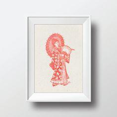 Watercolor Geisha Vintage Illustration Printable Art by VNBDesigns