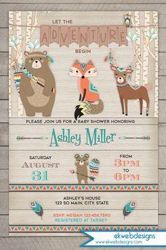 Woodland Baby Shower Invitation - Tribal Baby Shower Invitation - Adventure Forest Animals Baby Shower Invite