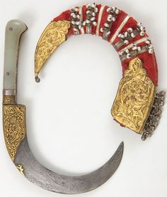 Indian (central, Maharashtra) bank dagger/sickle, 19th century, steel, bronze, gold, jade, pearls, wood, velvet, overall length, 21.0 cm. The Feldman Collection.