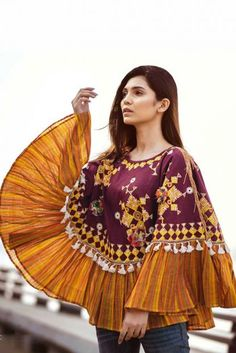 Winter Fashion Wear Body Cover Up Designer Embroidered Khadi Top - Boho Gypsy Poncho Top - Bollywoo Poncho Dress, Poncho Tops, Fashion Wear, Fashion Dresses, Fashion Sewing, Fashion Fashion, Fashion Trends, Winter Poncho, Kurti Designs Party Wear