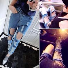 2014 New Vintage Women Sexy Cutout Blue Denim Jeans Trousers easygoing Holes Skinny Pants