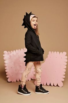 Dino-Lady // Kukukid Black Dino Hoodie available for international delivery from online kids store www.alittlebitofcheek.com.au