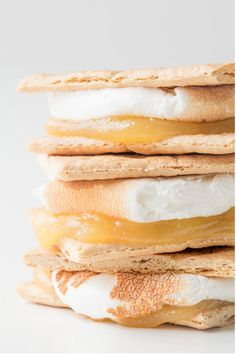 {Lemon Meringue Pie S'mores} Lemon curd, homemade or store bought, with roasted marshmallows and graham crackers