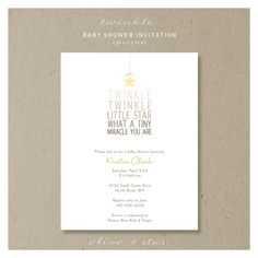 twinkle little star baby shower invitation set    by OliveandStar, $72.00