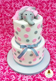 Elephant Baby Shower Cake. What a cute way to celebrate a baby girl!