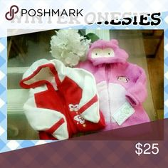 |BABY GIRL || PINK WHITE RED HOODED ONESIES 3 M These are new with tags. Baby girl never got around to wearing them. Both have hoods. Zipper access. Built in hand mitten for those babies who love to scratch their face. For baby girl. Both are for sale. Baby Gear One Pieces Footies