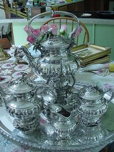 1870s Victorian Silver Tea Set French Mark A Cejune English Tray Handles | eBay