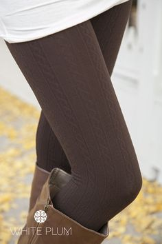 Coffee Cable Knit Fleece Lined Leggings