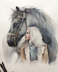 If you are a fan of watercolors like me, these paintings will enchant you! ❤️ Magnificent watercolor paintings by Dessin de Personnes Watercolor Horse, Pastel Watercolor, Watercolor Portraits, Watercolor Paintings, Watercolors, Watercolor Wallpaper, Simple Watercolor, Watercolor Trees, Painting Wallpaper