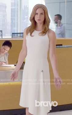 Donna's white dress with silver button on Suits.  Outfit Details: https://wornontv.net/59279/ #Suits