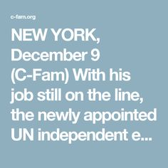 NEW YORK, December 9 (C-Fam) With his job still on the line, the newly appointed UN independent expert for lesbian, gay, bisexual, and transgender (LGBT) rights laid out a provocative agenda for his 3-year term last week.