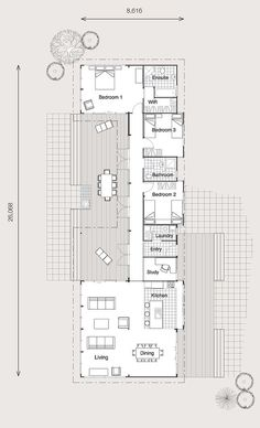 Why it rocks long and narrow means great flow while for Long narrow house floor plans