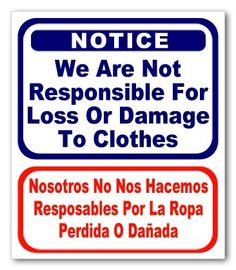 Sign - We Are Not Responsible / Nosotros No Nos Hacemos Resposables