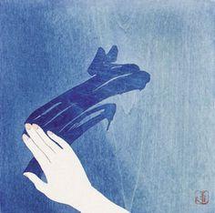 Window Asian art Japanese woodblock print by artist Tsuzen Nakajima #Japanese #art #woodblock #print #artist #asian #blue #hand