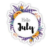 'Hello July - monthly cover for planners, bullet journals' by vasylissa Tumblr Stickers, Diy Stickers, New Month Wishes, Thanksgiving Letter, New Month Quotes, Unisex Baby Names, Hello July, Journal Stickers, Monat