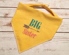 Big Sister Dog Bandana.  Sturdy linen look yellow by CollarRap