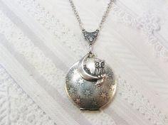 Silver Locket Necklace  Silver Night Owl   Owl by birdzNbeez, $28.00