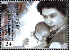 Queen Elizabeth II with baby Prince Andrew, on a stamp issued in 1992 to mark the 40th Anniversary of the Accession.