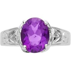 Sterling Silver Amethyst Ring ($100) ❤ liked on Polyvore featuring jewelry, rings, purple, purple ring, amethyst rings, amethyst jewellery, floral ring and sterling silver jewellery