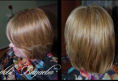 мелирование на светло-русые волосы, получился эффект выгоревших волос, стрижка каре