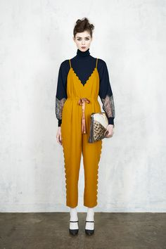 Dark Blue Turtle Neck under V-Neck Spaghetti Strap Jumpsuit Beautiful Outfits, Cool Outfits, Love Fashion, Womens Fashion, Fashion Design, Yuka, Couture, Fashion Brands, Ready To Wear