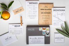 Oh So Beautiful Paper: Mina + Ian's Modern Wood Veneer Wedding Invitations