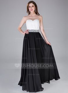 A-Line/Princess Sweetheart Floor-Length Chiffon Prom Dress With Ruffle Beading (017030906)