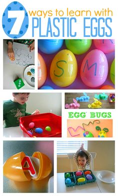 Fun learning activities that use plastic Easter eggs . Use up your left over Easter eggs for fun and learning.