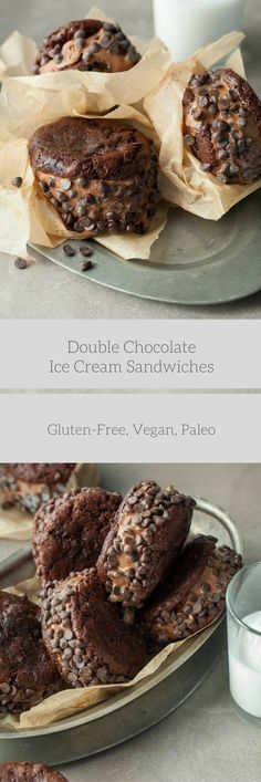 DOUBLE CHOCOLATE ICE CREAM SANDWICHES (PALEO, VEGAN) – Creamy vegan chocolate ice cream is sandwiched between two double chocolate cookies and rolled in mini chocolate chips.