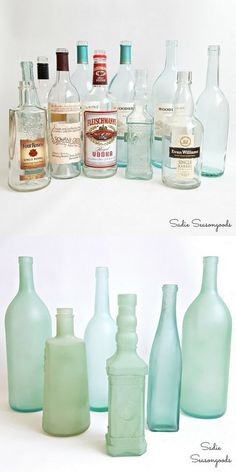 DIY Sea Glass Bottles These are absolutely the prettiest DIY sea glass bottles/glassware I've seen. And the bonus is that they are also the easiest to make. Sarah uses 2 methods to make sea glass: Krylon Spray Paint and Martha Stewart's Frost Etching Effect Paint. Find the tutorial for DIY Sea Glass Bottles from Sadie Seasongoods here.