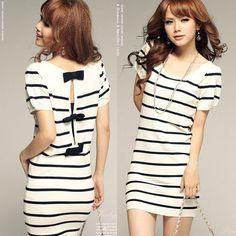Girls Stripe Opening Hollow Back Bowknot T Shirt Tops Mini Dresses White Black | eBay