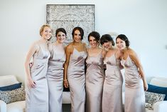 Floor-Length Champagne Bridesmaid Gowns // Classic Blush Ringling Wedding via TheELD.com Sea Hair, Groom And Groomsmen Suits, Modern Groom, Rose Centerpieces, City Hall Wedding, Makeup Salon, Bridesmaid Gowns, Wedding Videos, Down Hairstyles