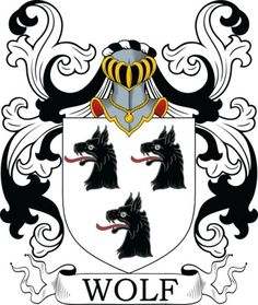 Wolf familiewapen met 3 wolven. Wolf Coat of Arms Meanings and Family Crest Artwork